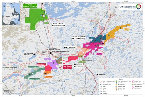 Figure 1. Location of known lithium deposits and showing and Bourier (in gold) Showing in the James Bay area of Quebec. (Graphic: Business Wire)