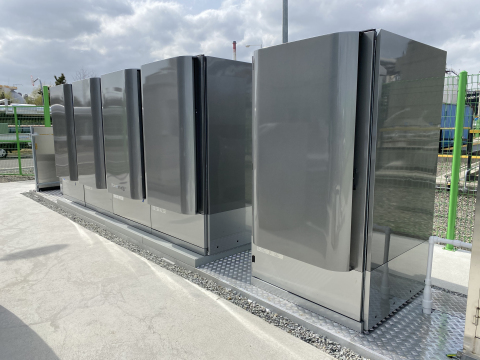Bloom Energy's solid-oxide fuel cells (SOFC) powered solely by hydrogen in Ulsan, South Korea, generating zero-carbon onsite electricity. (Photo: Business Wire)