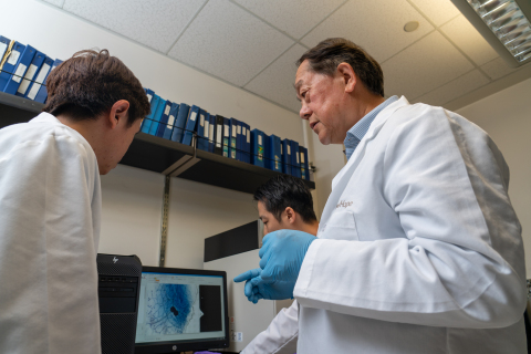 For two decades, Shiuan Chen (center), Ph.D., the Lester M. and Irene C. Finkelstein Chair in Biology at City of Hope, has been conducting translational research on white button mushroom and its potential positive effects on prostate cancer. He is co-investigator of a Phase 2 clinical trial that recently opened to test if intake of mushroom-powder tablets could slow the progression of prostate cancer. (Photo credit: City of Hope)