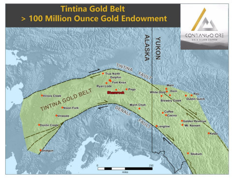 Figure 3.  Map showing the Tintina Gold Belt, Alaska and the Yukon. (Graphic: Business Wire)