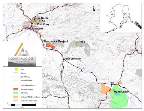 Figure 1. Location map for the Shamrock Project, Alaska. (Graphic: Business Wire)