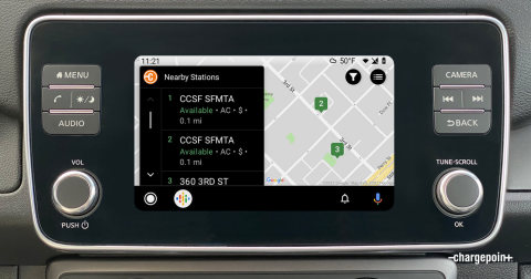 Android Auto compatibility brings essential charging functionality directly into the vehicle, helping drivers easily find nearby stations and more. (Photo: ChargePoint)