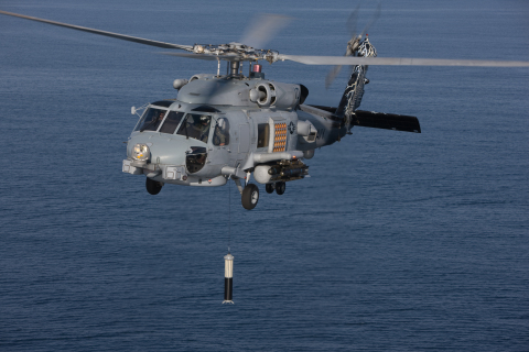 ALFS dipping sonar on MH-60R helicopter © Lockheed Martin