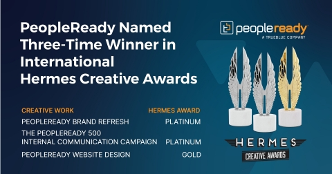 Staffing leader PeopleReady was recognized for its We Are Ready™ branding refresh and creative efforts with top honors in the 2021 Hermes Creative Awards. (Graphic: Business Wire)