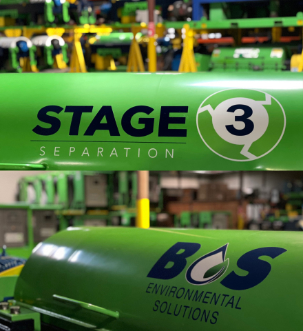 Stage 3 Separation and BOS Solutions logos on tanks. (Photo: Business Wire)