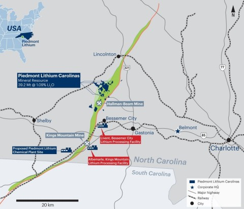 Piedmont Lithium Carolinas located within the TSB (Graphic: Business Wire)