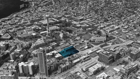 BioMed Realty's new parcel highlighted with the Space Needle and Seattle Center to the west, Bill and Melinda Gates Foundation to the north and the heart of South Lake Union to the east. (Photo: Business Wire)