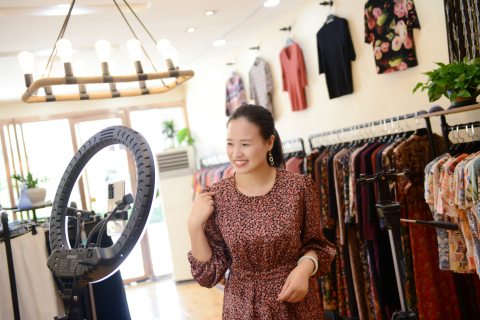 Taobao live streamer Wang Chunxiang who lived in Heibei Province used Taobao Live to sell apparel and engaged with consumers. (Photo: Business Wire)