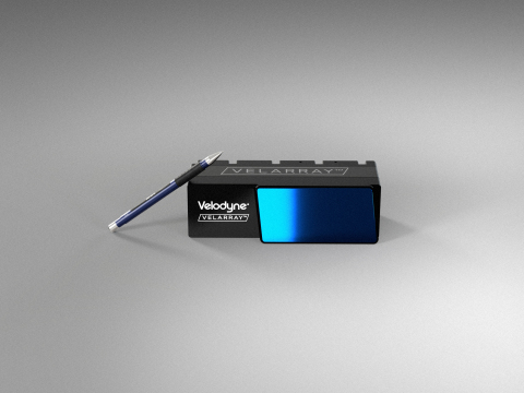 Velodyne's solid state Velarray H800 lidar sensors will power the Faraday Future FF 91's autonomous driving system that aims to deliver a comprehensive suite of highway, urban and parking autonomy features. The sensor's compact, embeddable form factor allows for the sensor to be seamlessly situated behind the vehicle's windshield for streamlined, flawless integration. (Photo: Velodyne Lidar)
