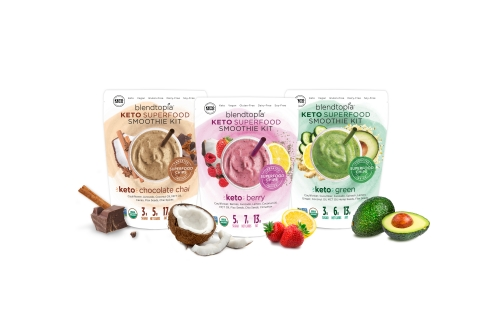 Blendtopia® has added three new ketogenic diet-friendly varieties to its lineup of organic superfood-packed smoothie kits: Keto Berry, Keto Chocolate Chai and Keto Green. (Photo: Business Wire)