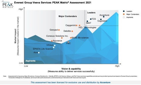 Everest Group's Veeva Services PEAK Matrix Assessment 2021 (Graphic: Business Wire)