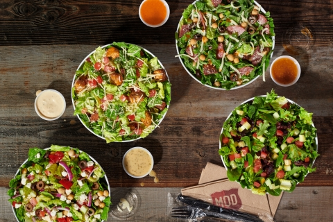 MOD introduced a new salad menu across its 490+ stores nationwide. With an emphasis on high-quality, fresh ingredients, the new culinary offerings launched on April 26. Customers have the option to customize any of the new classic salads or create their own, with MOD's unique model of unlimited toppings for one flat price. MOD's new salad offering features four delicious options – Greek, Italian Chop, Garden and Caesar. Complementing the salads are three new, exclusive dressings – Greek Herb, Zesty Roma and Sherry Dijon – featuring simple ingredients and made with vinegars crafted and imported from Italy. MOD's classic Caesar dressing, a customer favorite, remains on the menu.