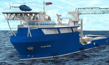 """S&B Infrastructure, Ltd. announced today it has acquired Technology Associates, Inc. Pictured is an EnviroMax Class """"M"""" 264-ft service operation vessel. (Photo: Business Wire)"""