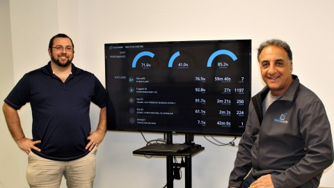 Co-founder Greg McHale (left) and Co-founder John Joseph (right) in front of their Production Monitoring Software in action (Photo: Business Wire)