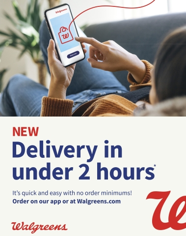 Walgreens introduces nationwide delivery in under two hours for retail products. (Graphic: Business Wire)