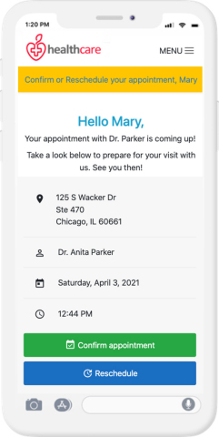 Upfront builds self-service rescheduling into appointment confirmation messages to boost re-booking rates. (Photo: Business Wire)