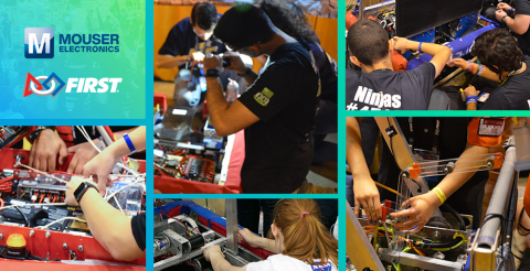 Mouser Electronics is proud to announce its continued sponsorship of FIRST® Robotics Competition, which inspires innovation and fosters well-rounded life capabilities in thousands of young people every year. (Photos from 2019 events.)