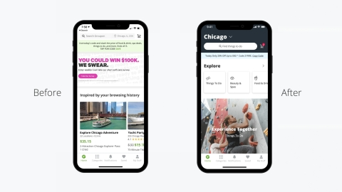 Groupon's reimagined UX elivers a more intuitive, engaging experience to amplify new inventory offerings, drive customer engagement and encourage repeat purchases. (Graphic: Business Wire)