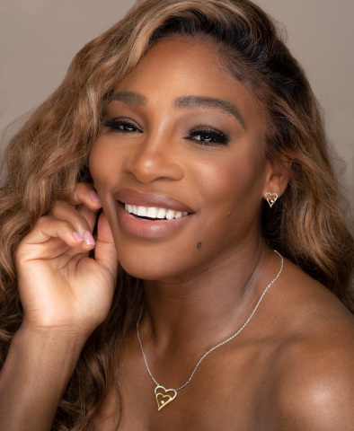 Serena Williams wearing Nestled Heart necklace and earrings from her latest collection. (Photo: Business Wire)