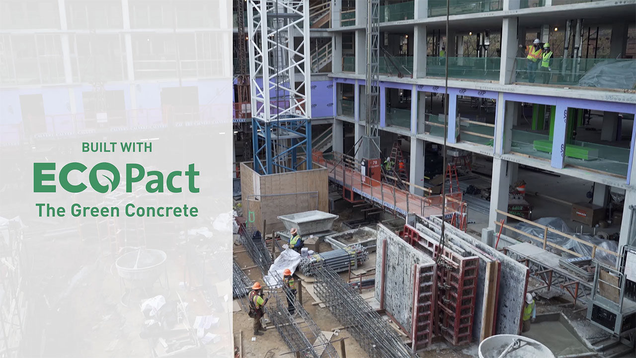 Video about EcoPact low carbon cement being used for a Georgetown University Law housing project in Washington, D.C.