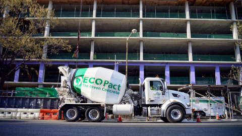 Photo of an EcoPact cement truck in front of a residential construction site for Georgetown University law school. (Photo: Business Wire)