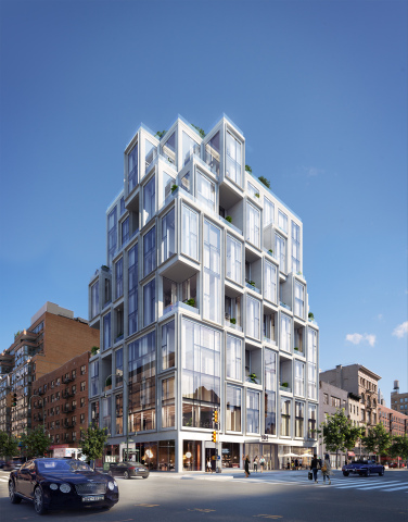 101 West 14th features 44 unique homes, and more than half feature double-height living spaces with spacious terraces that enable indoor/outdoor living and multifaceted views. Credit: Binyan Studios