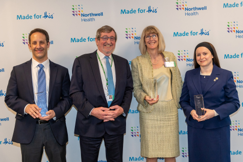From left: Dr. Jared M. Huston, Northwell Health President & CEO Michael Dowling, Anne Marie McDonough and Alina Segal, winners of the 2021 Innovation Challenge. Credit Northwell Health. (Photo: Business Wire)