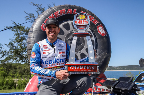 """Academy pro Jacob Wheeler of Harrison, Tennessee, held off a late charge from Berkley pro """"Big Fish"""" Bobby Lane of Lakeland, Florida, to win the Major League Fishing (MLF) Bass Pro Tour Berkley Stage Two at Lake Travis Presented by Mercury event in Austin, Texas and the top prize of $100,000. (Photo: Business Wire)"""