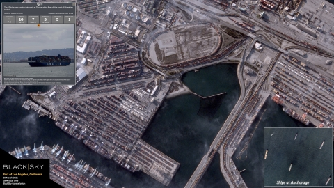 BlackSky's constellation of imaging smallsats enables persistent monitoring of the global supply chain. In this example, BlackSky's satellites captured the Port of Los Angeles during the ongoing, historic level of congestion. Additionally, BlackSky's satellites imaged ships waiting at anchorage outside the port and Spectra AI aggregated recent news reports and other data elements to enable real-time monitoring and inform critical decision making, with timely alerts, as conditions change. Through BlackSky's Spectra platform, customers can monitor the world's economic activity all from the comfort of home. (Photo: Business Wire)
