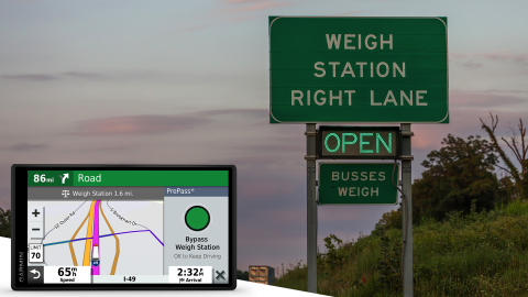Introducing the dēzl OTR500 with PrePass weigh station bypass notifications. (Photo: Business Wire)