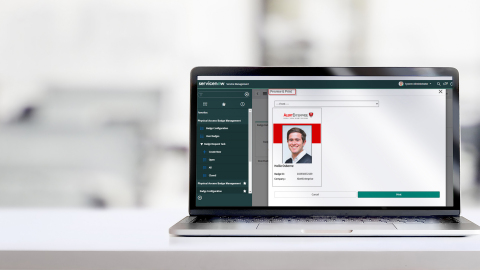 BADGE REVIEW & PRINTING: Preconfigured badge templates, Select the appropriate template from the drop-down, Dual-sided printing supported (Photo: Business Wire)