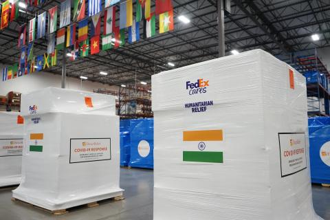 Critical medical supplies and personal protective equipment departing Santa Barbara, Calf., USA, bound for healthcare facilities in Kolkata, India via FedEx. (Photo: Business Wire)