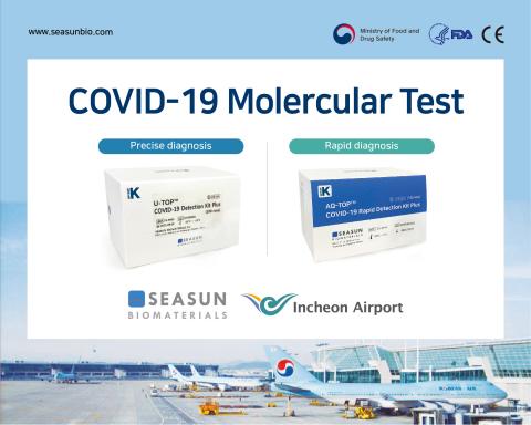仁川国際空港のCOVID-19検査センターで使用されているSEASUN BIOMATERIALS製COVID-19分子診断試薬。(写真:ビジネスワイヤ)