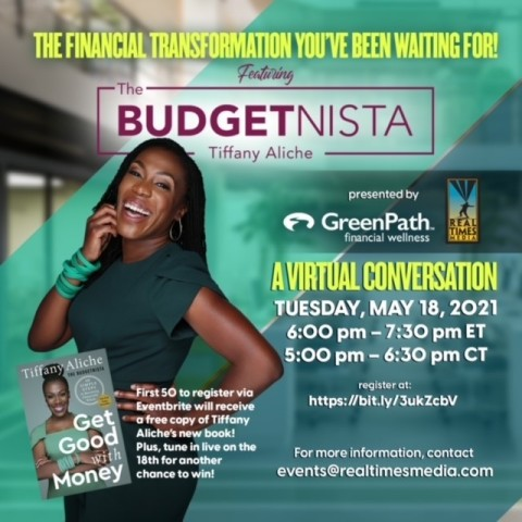 """GreenPath Financial Wellness and Real Times Media present """"The Financial Transformation You've Been Waiting For!"""", a virtual conversation featuring The Budgetnista Tiffany Aliche on Tuesday, May 18 at 6:00 p.m. EDT. (Graphic: Business Wire)"""