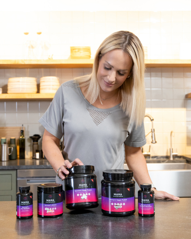 Jenn Brown, Contributing Editor of Dr. Emil Nutrition, shown with the new Mana by Dr. Emil Nutrition sports nutrition line for women. (Photo: Business Wire)