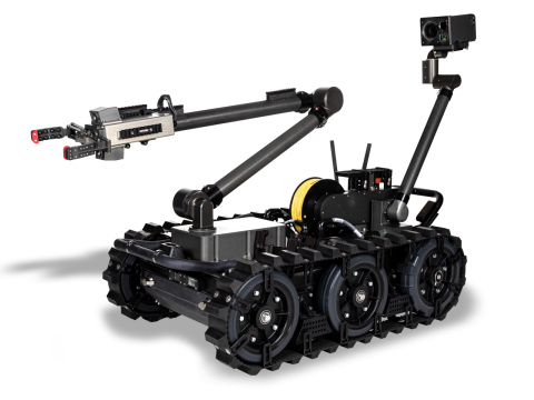The FLIR Centaur® is a medium-sized ground robot that provides a standoff capability to detect, confirm, identify, and dispose of hazards. Weighing roughly 160 pounds (73 kg), the IOP-compliant robot features an advanced EO/IR camera suite, a manipulator arm that reaches over six feet, and the ability to climb stairs. Modular payloads can be used for CBRN detection and other missions.(Photo: Business Wire)