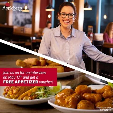 Applebee's to Host National Hiring Day on Monday, May 17 and Aims to Welcome 10,000 New Team Members to the Neighborhood With Its Franchisees. (Photo: Business Wire)