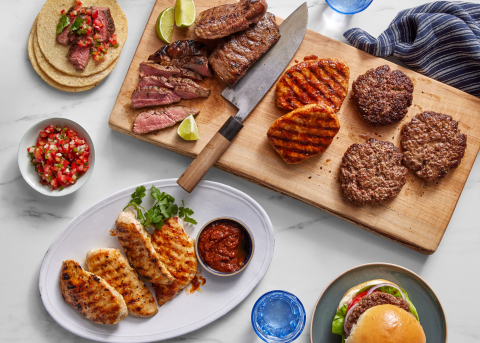 Blue Apron Butcher Bundles are a selection of twelve servings of responsibly sourced and high-quality meat and seafood options, paired with a variety of spice blends, recipe inspirations and a cooking guide. (Photo: Business Wire)
