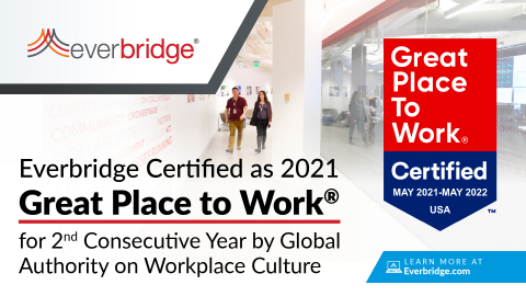 Everbridge Certified as a Great Place to Work® for the Second Consecutive Year (Graphic: Business Wire)