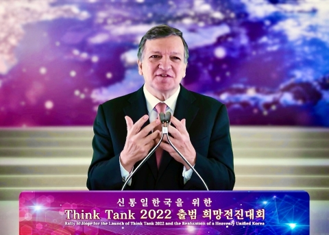 """José Manuel Barroso, former European Commission President addressing the global audience during the virtual 6th Rally of Hope and the launching of """"THINK TANK 2022"""" (Photo: Business Wire)"""