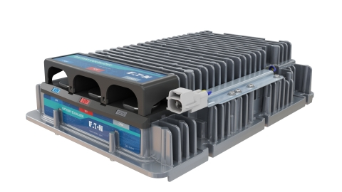 Eaton's specialty converter, also known as a battery equalizer, works in conjunction with another converter that takes power from the BEV's 600-volt system and steps it down to 24 volts. (Photo: Business Wire)