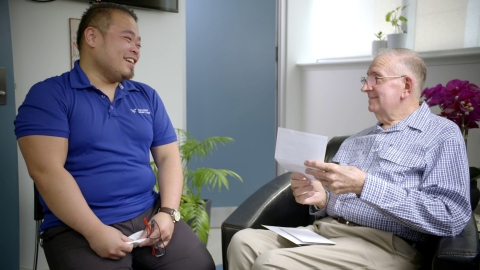 Through expressing their care for each other, nurse Ron and his patient Bill are both inspired by each other. (Photo: Business Wire)