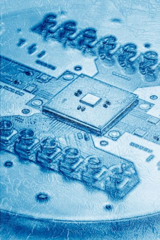 """A photo shows an Intel """"Horse Ridge"""" chip mounted on a circuit board. Horse Ridge is a cryogenic control chip for qubits built using Intel's 22nm FinFET Low Power technology. (Credit: Marieke de Lorijn)"""