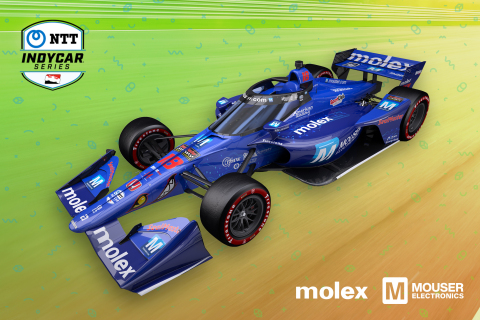 The Dale Coyne Racing with Vasser Sullivan No. 18 car will sport a sleek Mouser Blue livery for the second year in a row at the 2021 GMR Grand Prix on May 15. (Photo: Business Wire)