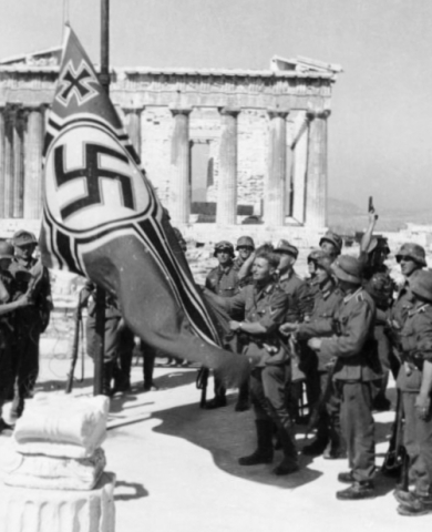 In April 1941 Nazi Germany invaded and occupied Greece, and on April 28 raised the swastika on Acropolis Hill, steps from the Parthenon. (Photo: Business Wire)
