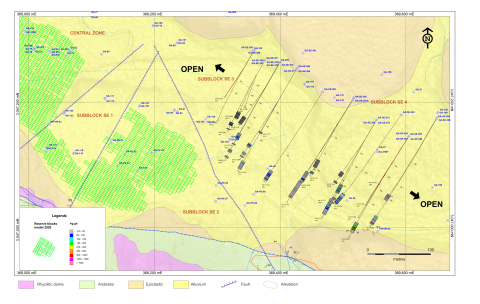 Figure 1: Plan View of the SE zone Drill Hole Map, Block 4 of the Cerro Los Gatos System (Graphic: Business Wire)