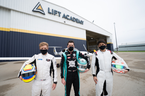 NNT INDYCAR Series drivers Spencer Pigot, Dalton Kellett and Kyle Kaiser visit LIFT Academy in Indianapolis to take their skills from the race car to airplane with a discovery flight from Indianapolis International Airport. (Photo: Business Wire)