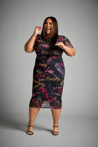 Discover on-trend plus styles from the Nina Parker collection, exclusively for Macy's; Graffiti Midi Dress, $99.00