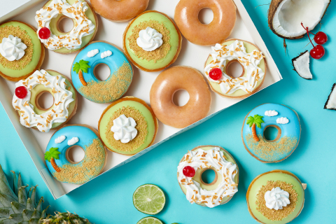 Three tropics-inspired doughnuts available for a limited time beginning May 17; Key Lime Glazed doughnuts return Friday, May 21 and 28 (Photo: Business Wire)