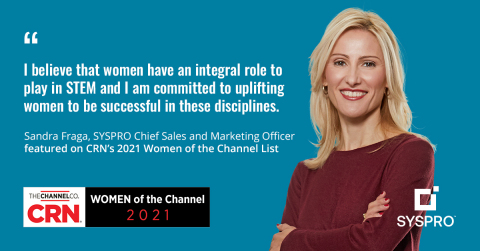 CRN has included Sandra Fraga, Chief Sales and Marketing Officer, in the highly respected Women of the Channel list for 2021. (Graphic: Business Wire)